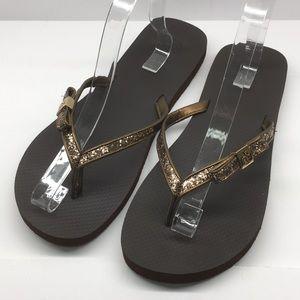 Tory Burch Carey Glitter thong sandals NWOB 11